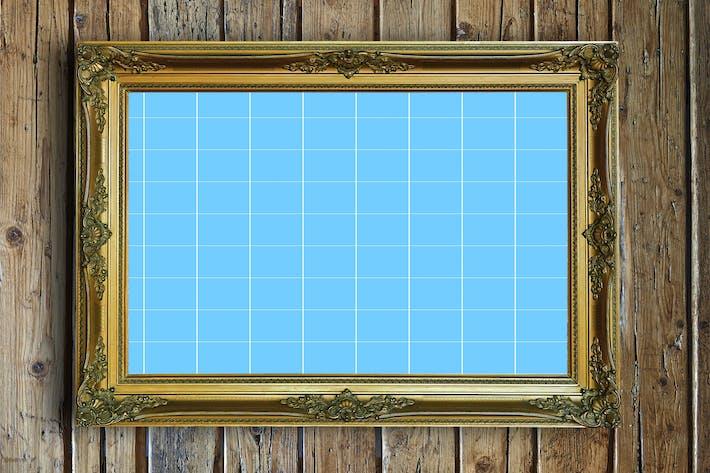 Cover Image For Antique Golden Frame Mockup 03