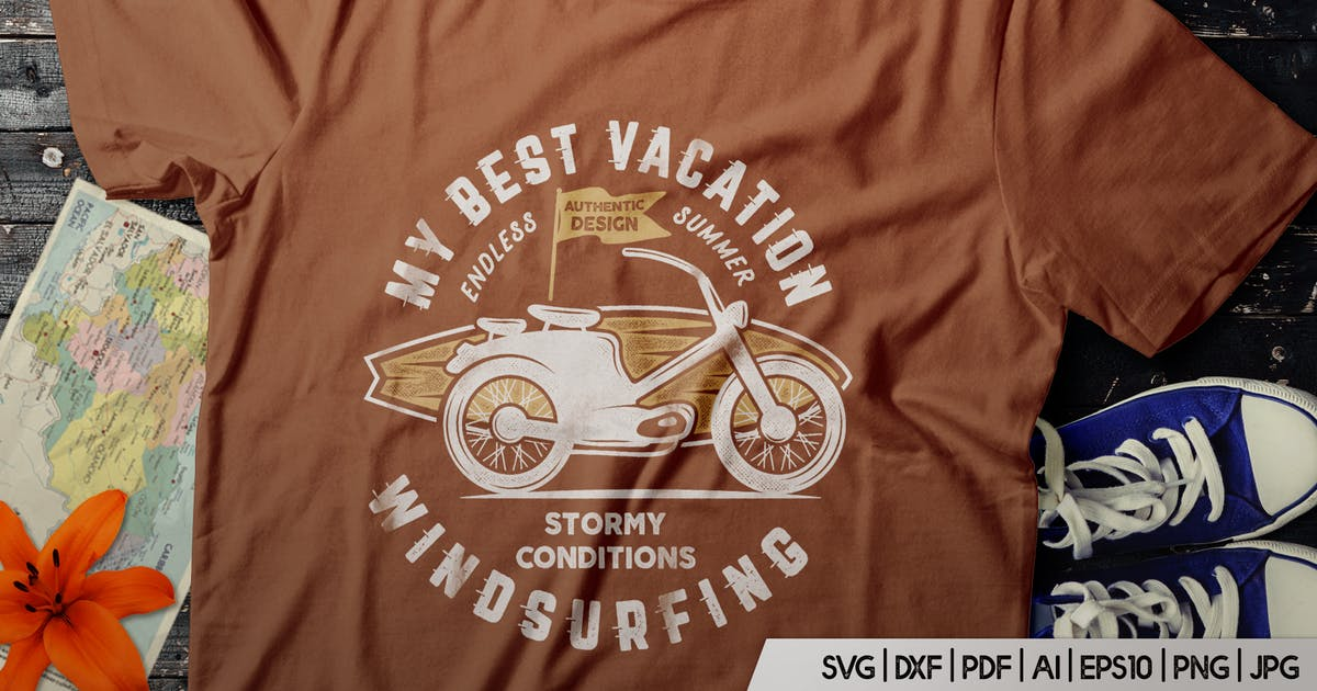 Download Surfing Retro Graphics Prints TShirt, Summer Label by JeksonJS
