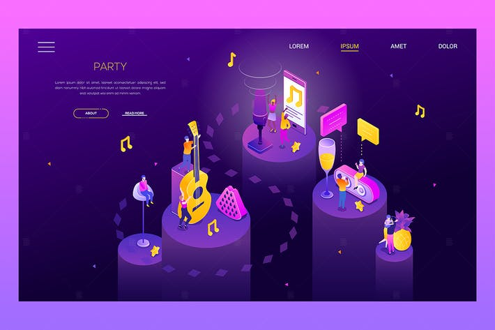 Thumbnail for Party and celebration - isometric web banner