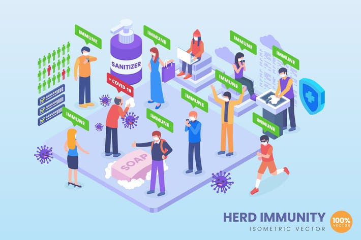 Thumbnail for Isometrische Herdenimmunität Illustrationskonzept