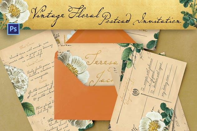Vintage Floral Postcard Invitation Package - product preview 5