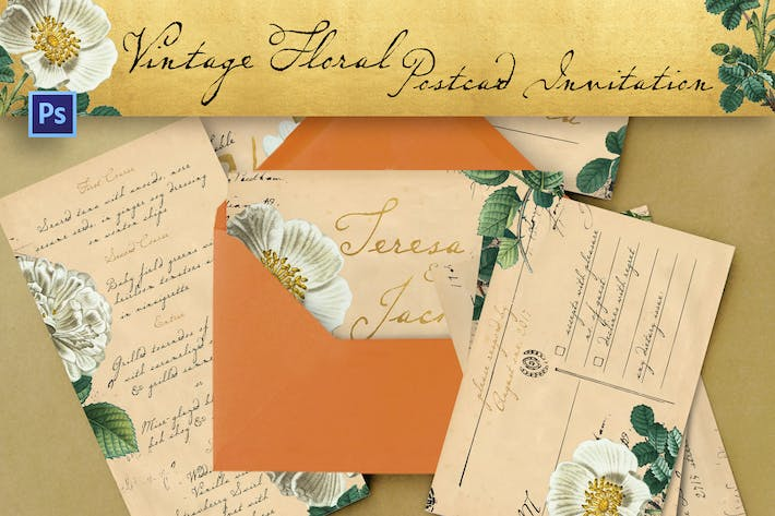 Thumbnail for Vintage Floral Postcard Invitation Package