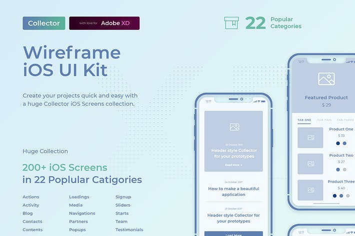 Cover Image For Collector iOS Wireframe UI Kit