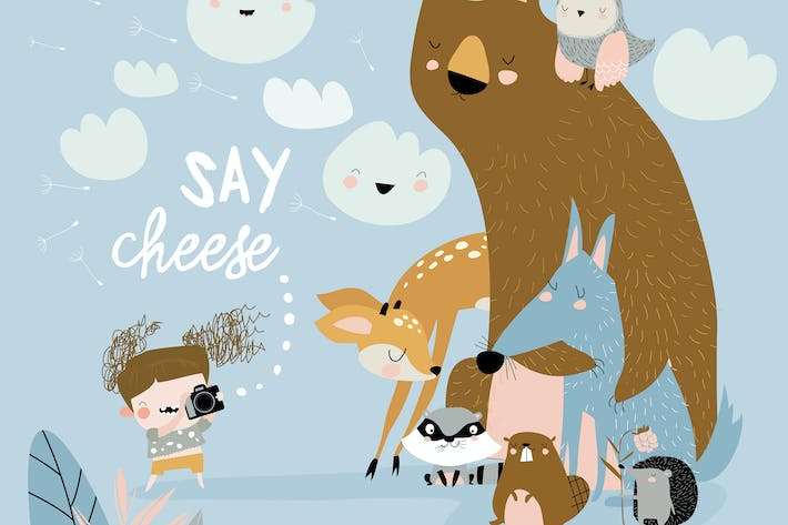 Thumbnail for Funny little girl takes pictures animals. Vector