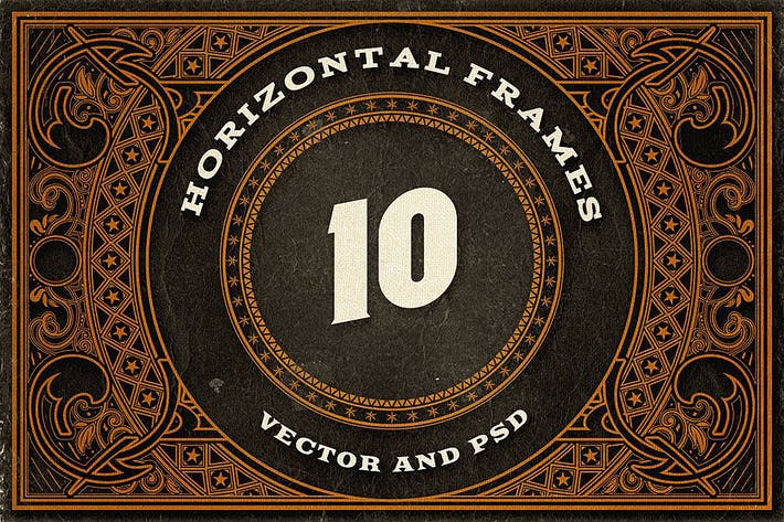 Thumbnail for 10 Decorative Horizontal Frames