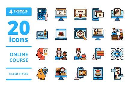 Onlinekurs Gefüllte Icons