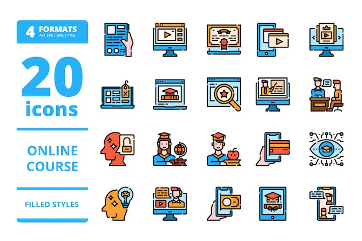 Online course Filled icons packs