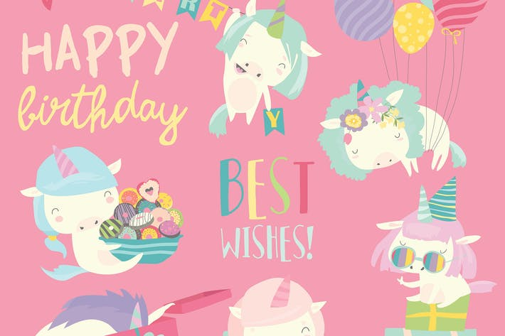 Thumbnail for Vector set illustration of cute white unicorns