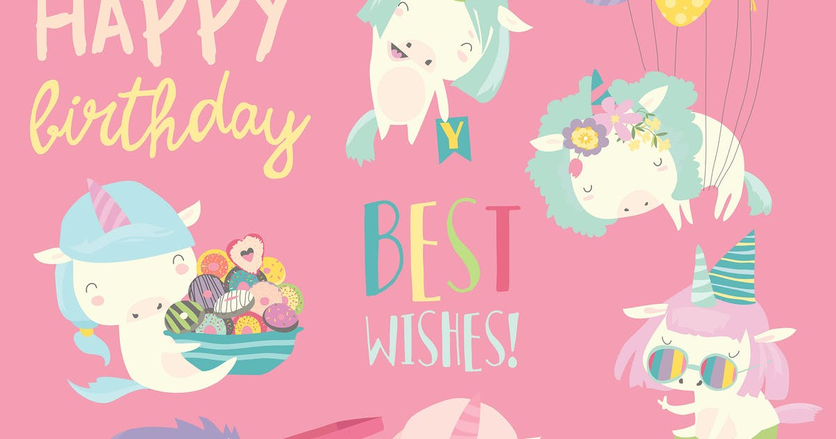 Download Vector set illustration of cute white unicorns by masastarus