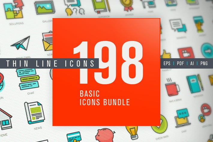 Thumbnail for Set of Thin Line Basic Icons