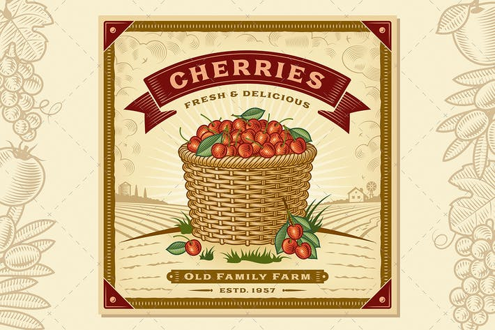 Thumbnail for Retro Cherry Harvest Label With Landscape