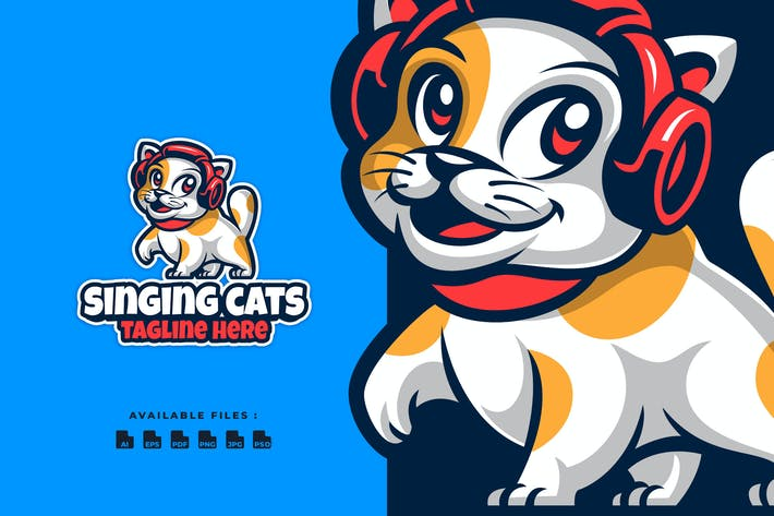 Thumbnail for Singing Cats Cartoon Logo