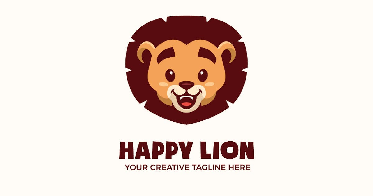 Download Cute Baby Lion Head Mascot Character Logo Template by MightyFire_STD