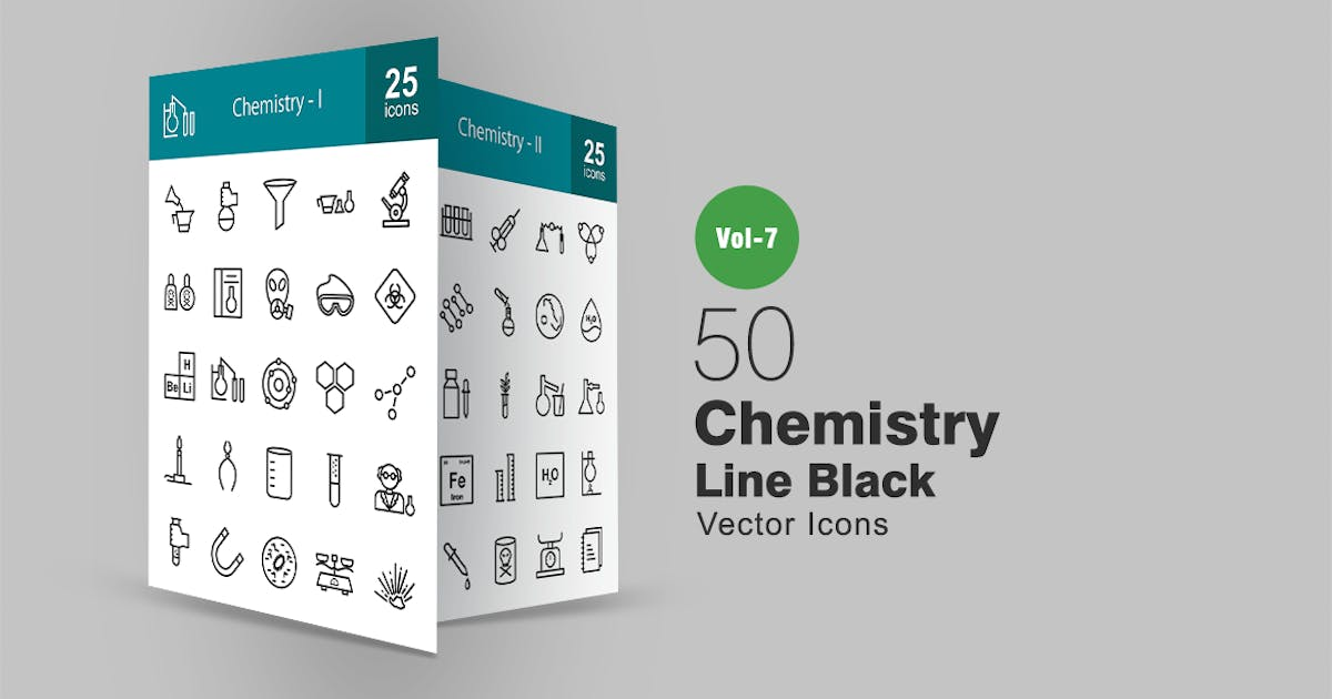 50 Chemistry Line Icons by IconBunny