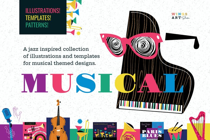 Thumbnail for Musical Illustrations and Poster Templates