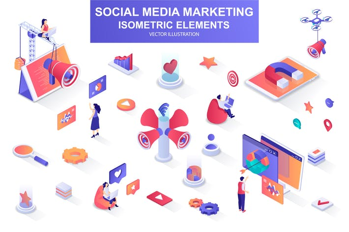 Thumbnail for Social Media Marketing Isometric Design Elements