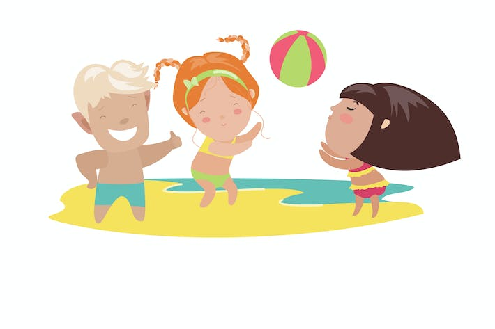 Thumbnail for Children playing beach volleyball. Vector