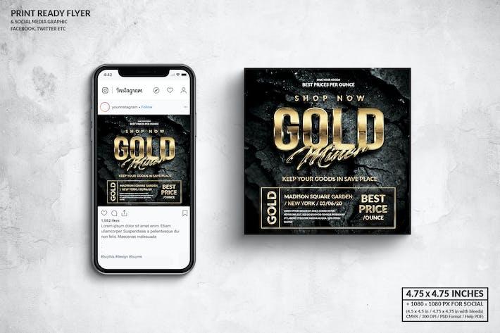 Thumbnail for Gold Miner Square Flyer & Social Media