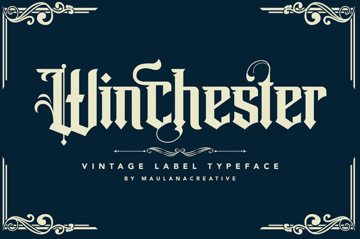 Thumbnail for Winchester Blackletter Vintage Label Typeface Font