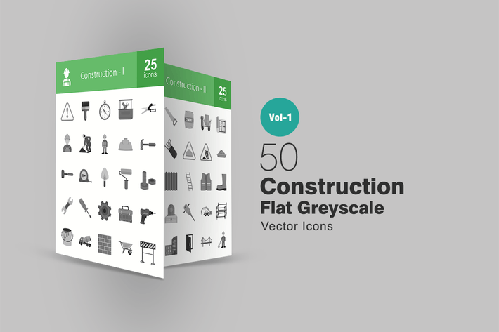 Thumbnail for 50 Construction Greyscale Icons