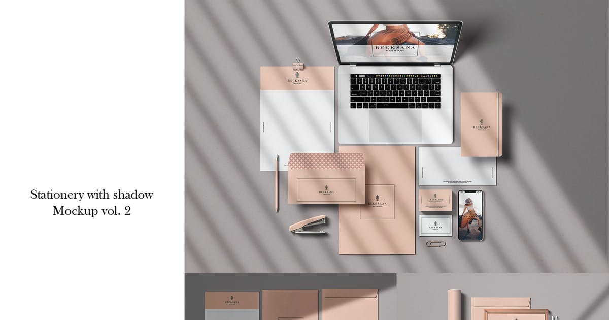 Download Stationery with shadow  mockup vol. 2 by GraphicGata