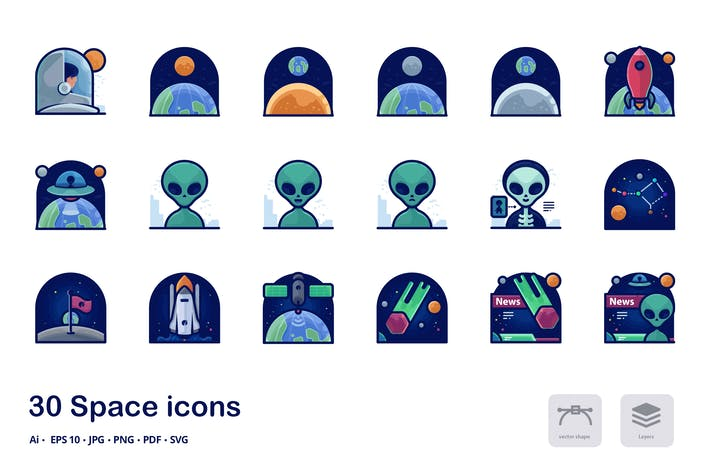 Thumbnail for Space detailed filled outline icons