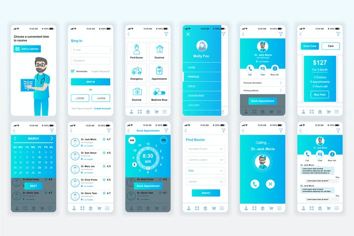 Thumbnail for Medicine Mobile App UX and UI Kit