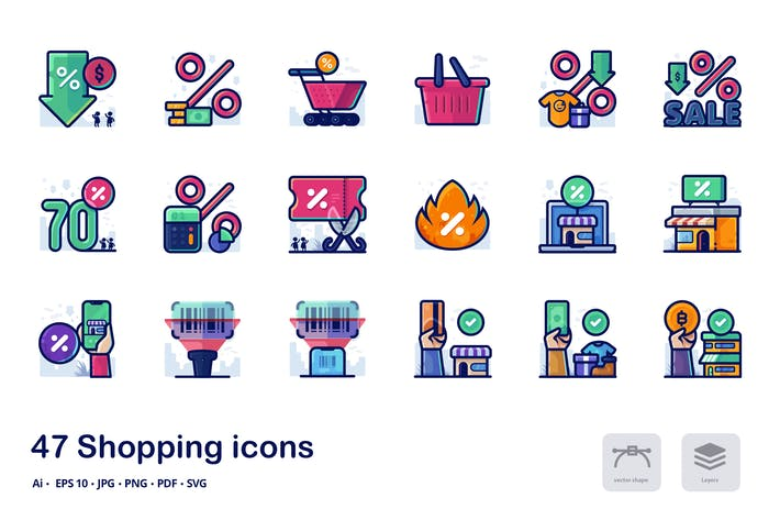 Thumbnail for Shopping detailed filled outline icons