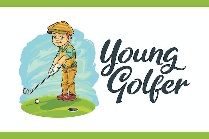 Thumbnail for Logo mascotte jeune golfeur de dessin animé