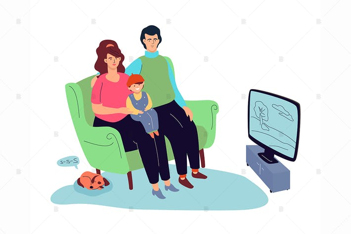 Thumbnail for Family watching TV flat design style illustration