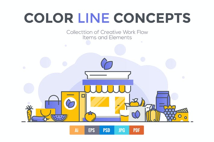 Thumbnail for Big collection of Flat Line Color Concepts