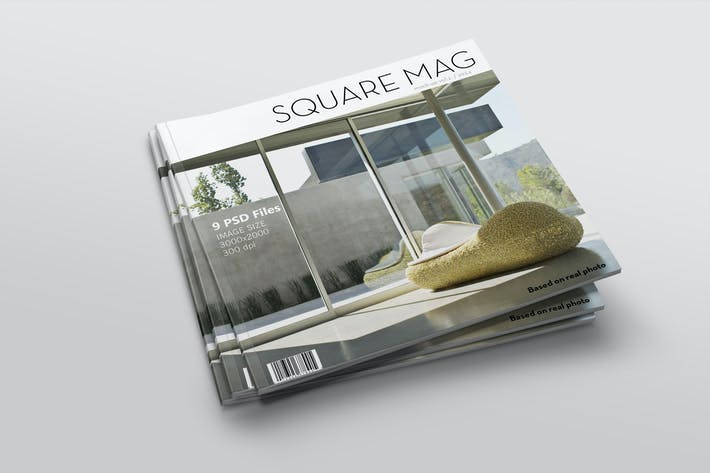 Cover Image For Square Magazine Mock-Up