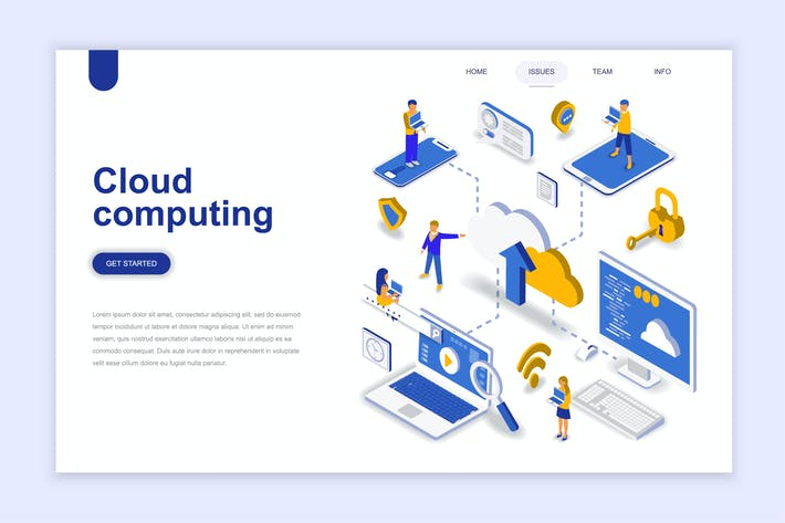 Cover Image For Cloud Computing Isometric Landing Page
