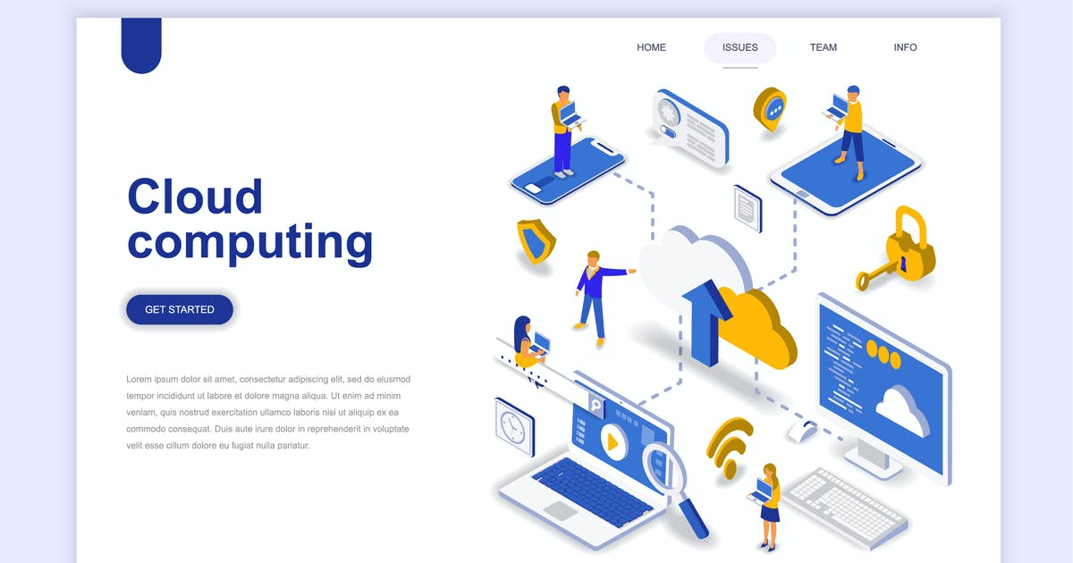 Download Cloud Computing Isometric Landing Page by alexdndz
