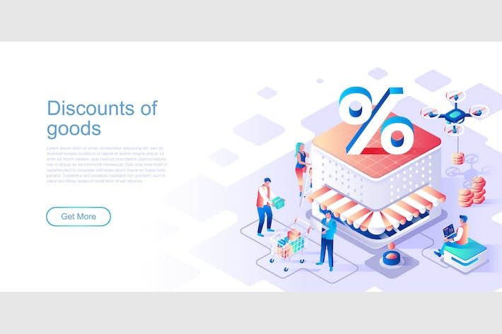 Thumbnail for Discounts of Goods Isometric Flat Concept Header