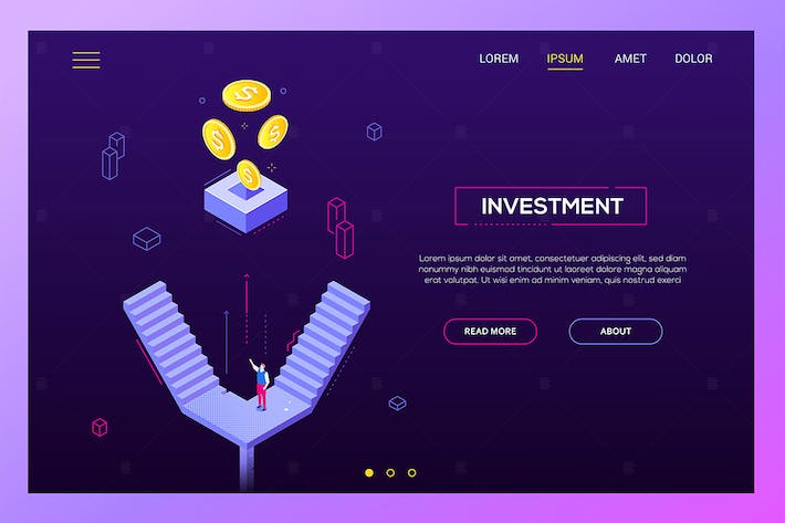 Thumbnail for Investment concept - isometric website banner