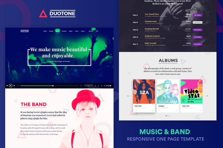 Thumbnail for Music & Band Responsive Website Template - Duotone
