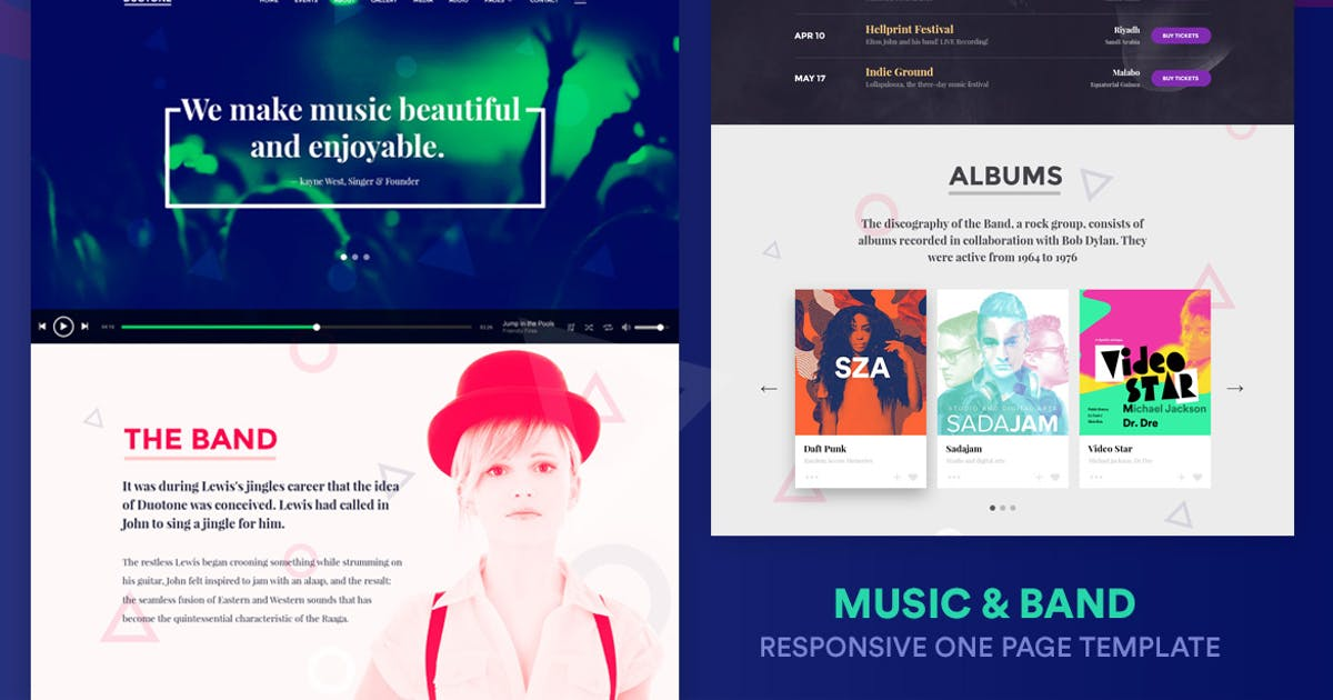 Music & Band Responsive Website Template - Duotone by surjithctly