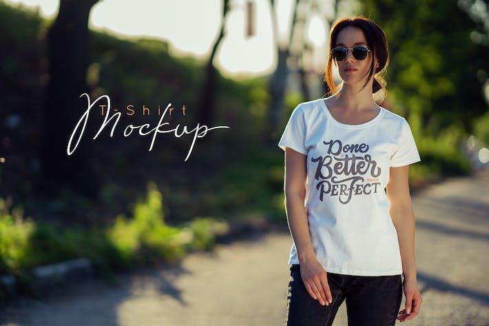 Thumbnail for Female T-Shirt Mock-Up v4
