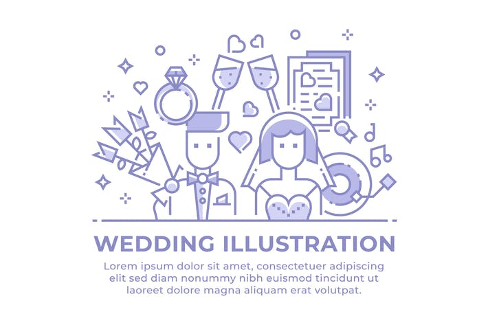 Thumbnail for Wedding Linear Illustration