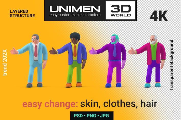 Geschäftsmann Präsentiert Hand 3D Charakter zeigen