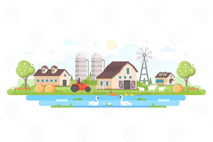 Thumbnail for Farm - flat design style vector illustration