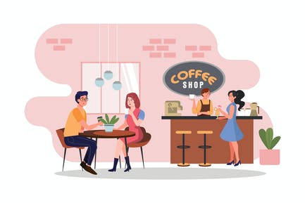 Coffee shop Illustration concept