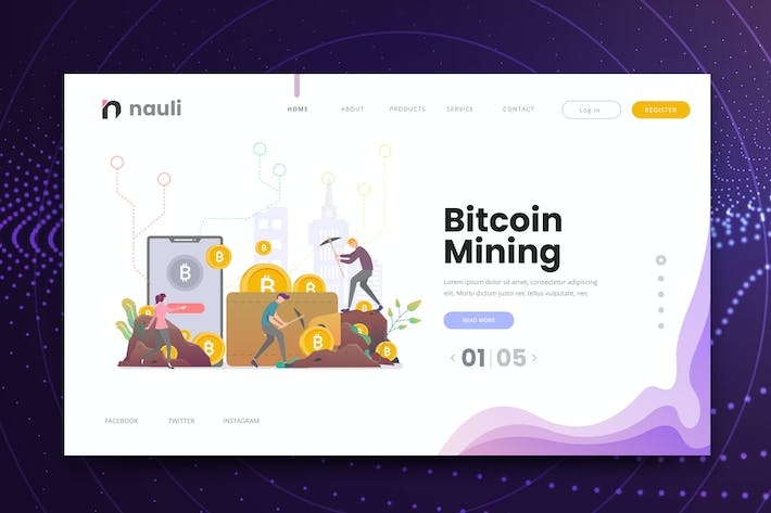 Thumbnail for Bitcoin Mining Web PSD and AI Vector Template