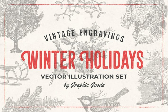 Cover Image For Winter Holidays - Vintage Engraving Illustrations
