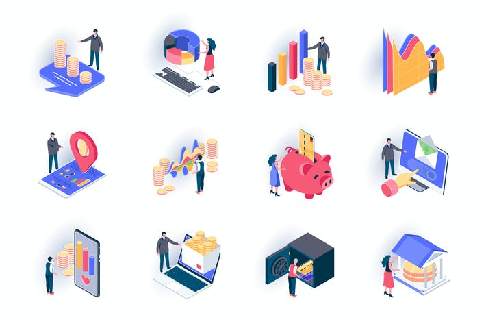 Thumbnail for Finance Isometric Icons Pack