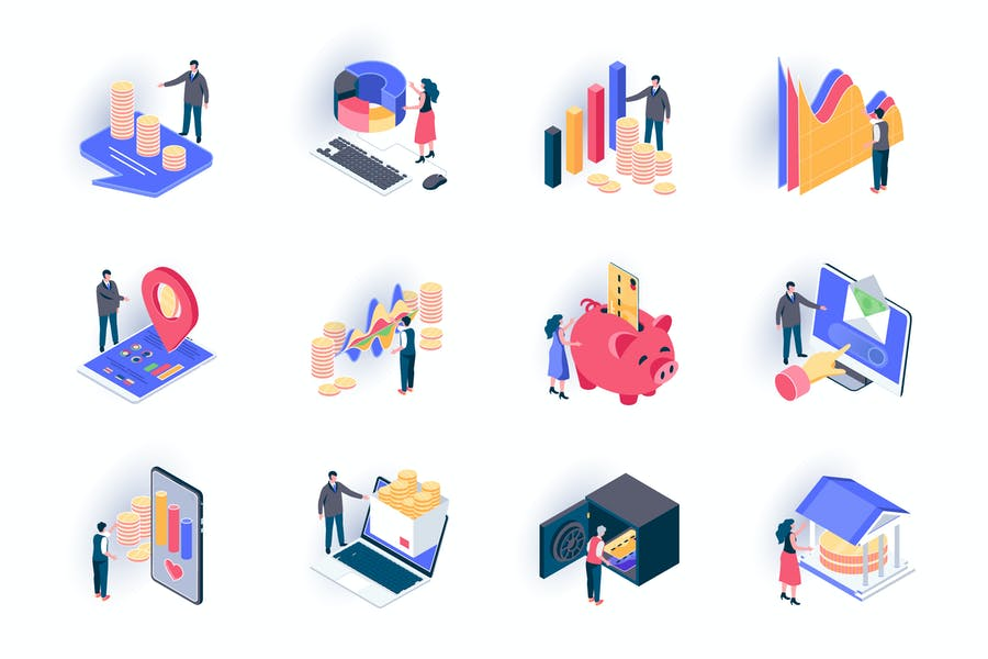 Finance Isometric Icons Pack
