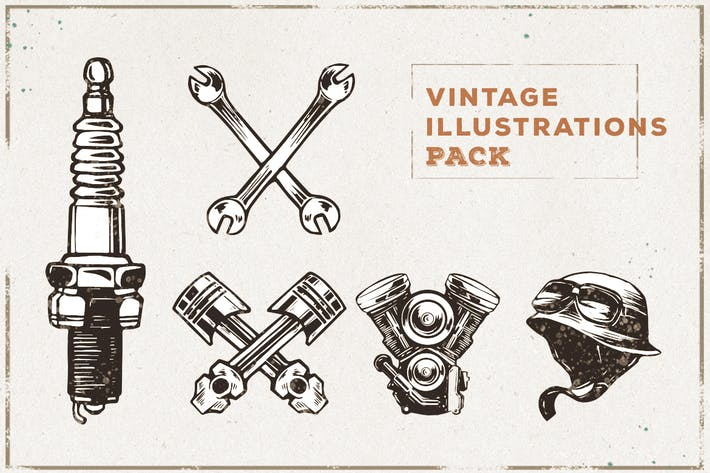 Thumbnail for Vintage Sparepart Illustration Pack