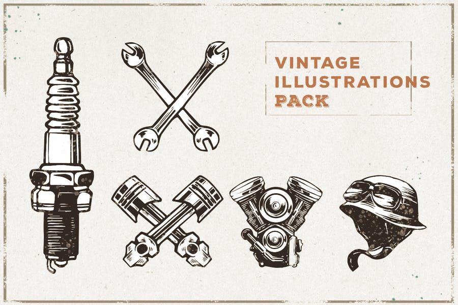 Vintage Sparepart Illustration Pack