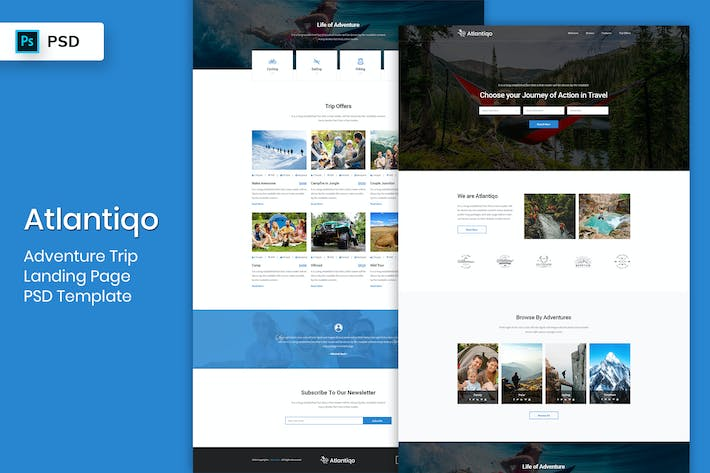 Thumbnail for Adventure Trip - Landing Page PSD Template